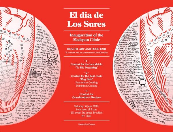"""El Dia de Los Surés"" bilingual program as tablemats designed by Miralda"